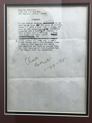 """SIGNED Transcripts of two poems from Love is a Dog from Hell (""""Trapped"""" and """"the meek inhereted"""") with a photo of Charles Bukowski"""