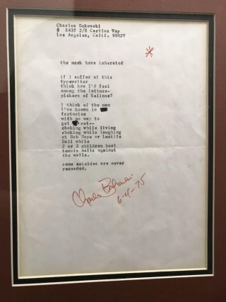 "SIGNED Transcripts of two poems from Love is a Dog from Hell (""Trapped"" and ""the meek inhereted"") with a photo of Charles Bukowski"